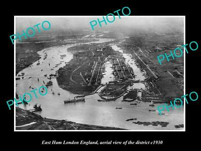 Old Large Historic Photo East Ham London England, Aerial View Of District 1930