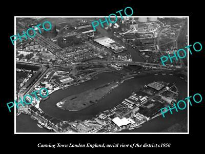 Old Large Historic Photo Canning Town London England District Aerial View 1950