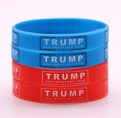 Donald Trump 2020 MAGA 2pc Bracelet Wristband set color Choice Red or Blue