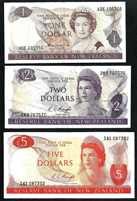 New Zealand $5 & $2 & $1 Banknotes
