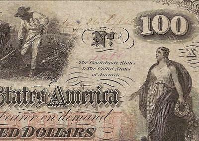 """1862 $100 FULL PEN DATE MISSING """"THE"""" by CONFEDERATE STATES CIVIL WAR NOTE T-41"""