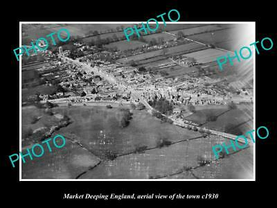 OLD LARGE HISTORIC PHOTO OF MARKET DEEPING ENGLAND, AERIAL VIEW OF TOWN c1930 2