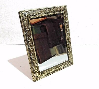"vintage antique brass PEERAGE Eng ornate wall mirror or self stand 9"" x 11"""