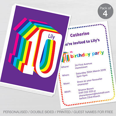 Personalised 10th Birthday Party Invitations Set Of 10 Invites A6 Postcard