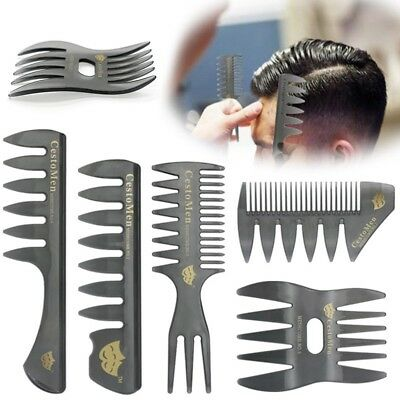 Large Wide Tooth Comb Gentleman Classic Oil Slick Back Plane Styling Hair Brush