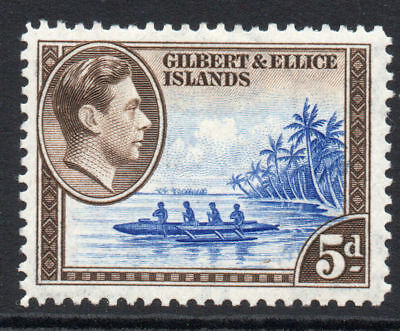 Gilbert & Ellice Islands 5d Stamp c1939-55 Mounted Mint (674)