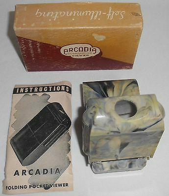 Vintage ARCADIA COMMANDER VIEWER Self Illuminating MINT IN BOX 1940s Pocket Size