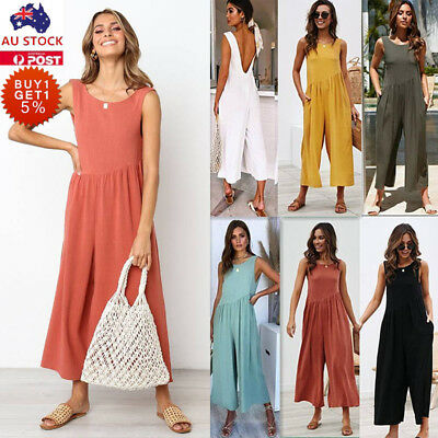 Women Wide Leg Summer Jumpsuit Casual Backless Culotte Palazzo Playsuit Romper