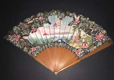 Rare Antique Export Chinese Carved Wood Hand Painted Mythological Scene Fan