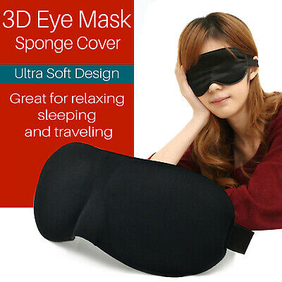 3D Soft Padded Blindfold Blackout Eye Mask Air Travel Rest Sleep Aid Shade Cover