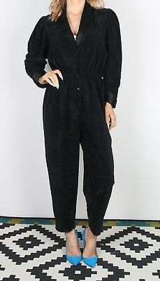 Jumpsuit Plain Velour Velvet UK 10 Small  All in one 80's  (DA-D)