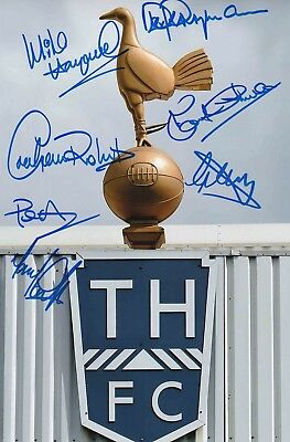Spurs Legends Authentic Signed By 7 Perryman Spurs Cockerel 12X8 Photo Aftal#198