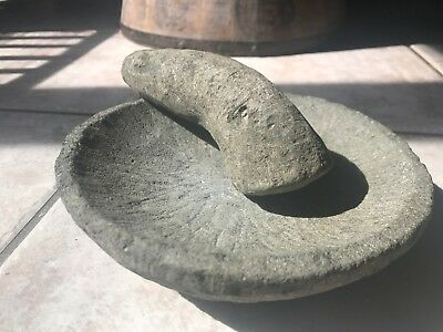 Antique Native American Carved Stone Mortar & Pestle- 17Th/ 18Th Century- Early