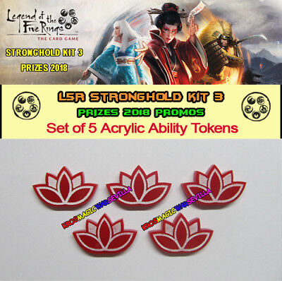 LEGEND OF THE FIVE RINGS L5R - Set 5 Acrylic Ability Tokens - 2018 Stronghold 3