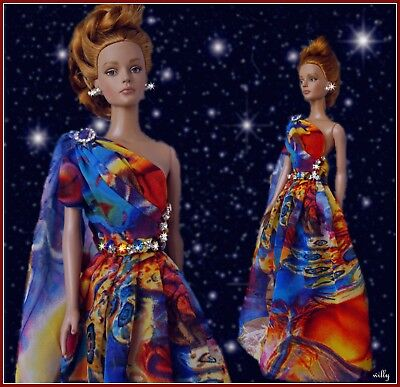 "Beautiful Colorfull Long Dress  For A Caribbean Christmas  Ooak For ""16 Dolls"