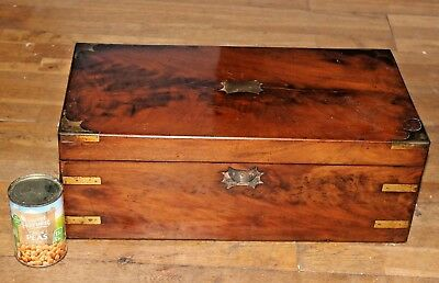 Large wooden Antique Writing Slope with Drawer  brass handles