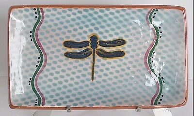 Terracotta Art Pottery Hand Painted Dragonfly Serving Dish Platter Sushi Plate