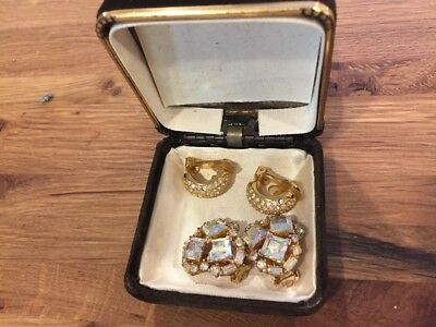 Set of two pairs of Vintage gold tone and crystal clip on earrings