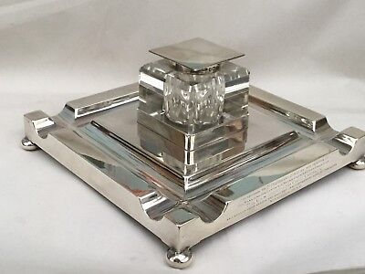 Superb Sterling Silver Art Deco Table/Desk Inkwell, 1937