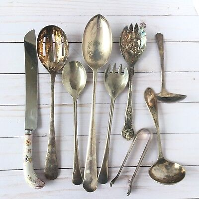 Lot of 9 Vintage Silver Plate Serving Pieces Spoons Tongs Knife Service Flatware