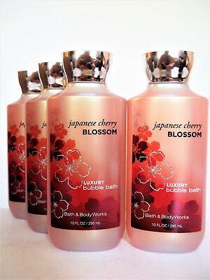 Bath Body Works JAPANESE CHERRY BLOSSOM Luxury Bubble Bath, 10oz/295 mL, NEW x 4