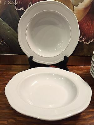 2 White POTTERY BARN Beaded Flat Rimmed Soup Bowls~More Available~Exc.