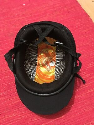 horse riding helmet black size 55 Charles Owen includes cap excellent condition