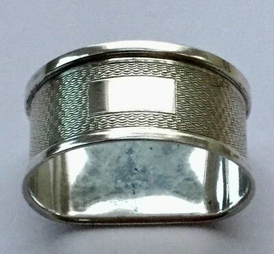 1950 Vintage Single Solid Silver*D*Shaped Napkin Ring.VGC.