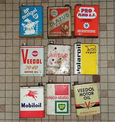 lot 2 : 9 bidon huile Öl dose oil can tin : veedoll bp antar mobil olazur polaro