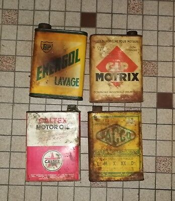 lot 3 : 4 bidon huile Öl dose oil can tin : cip motrix energol  caltex yacco