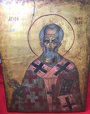 Antique Icon Russian Greek Orthodox St. Nicholas Hand Hewned Wood Painted 9.5''