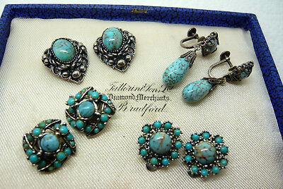 Vintage Jewellery Mixed Job Lot Of Turquoise Earrings Various