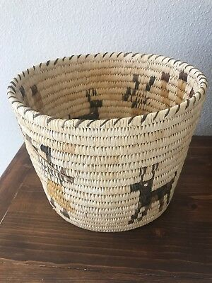Vintage Native American Papago Indian Tightly Woven Pictoral Dog Basket With Tag