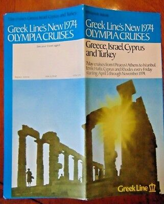 Vintage 1974 Brochure Greek Line Olympia Cruise Ship Liner