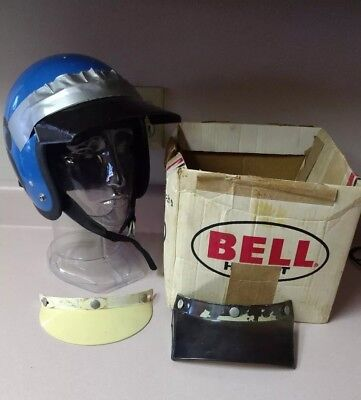 Vintage Bell RT Racing Motorcycle Helmet 7 1/4 California Blue Rare Find