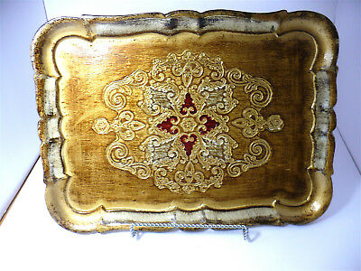 """Vintage Florentine Italy Tole Ware Gold Silver Gilt Wood Rectangle Tray 14X10"""""""