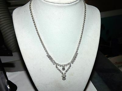 """""""vintage"""" Pear Round Shaped Clear Quartz Crystals Silver Tone Princess Necklace"""