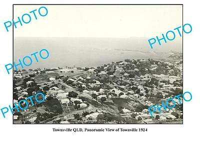 OLD LARGE PHOTO, TOWNSVILLE QUEENSLAND, PANORAMA OF TOWNSHIP c1924