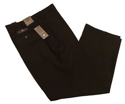 M&S Mens Active Waist Regular Fit 42-36-38-34-40 31-29-33 Black Wool Trousers