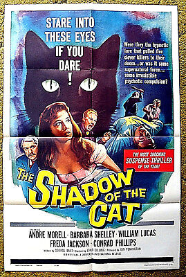 """a HAMMER HORROR/TERROR PRODUCTION -- """"SHADOW of the CAT"""" / 1961 poster 27 x 41"""