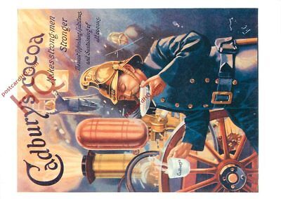 Picture Postcard, Cadbury's Cocoa Advertising, Firemen (Repro)