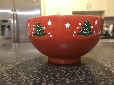 "Vintage Waechtersbach Red Christmas Tree 6"" Serving / Cereal Footed Bowl"