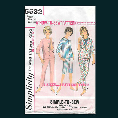 Vintage Simplicity Pattern 5532 Misses' Pajamas in Two Lengths Size 16