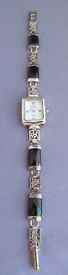 Ladies Vintage Asian Argento Sterling Chinese Curved Onyx Panel Watch Works