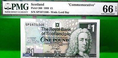 MONEY SCOTLAND 1 POUND ND 1994 COMMEMORATIVE PMG GEM UNC PICK #358a VALUE $66