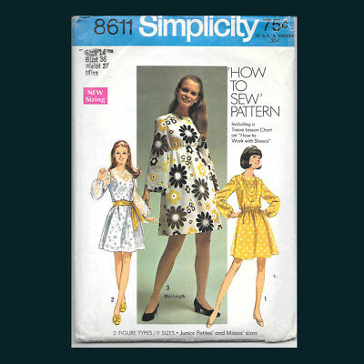 Vintage Simplicity Pattern 8611 Misses' Dress in Two Lengths Size 14