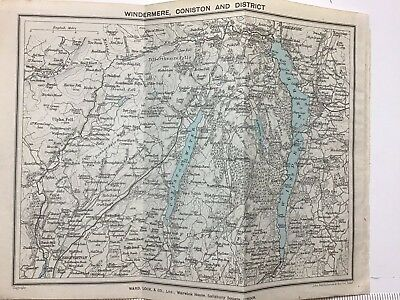 Windermere, Coniston and District , 1927 Vintage Map, Lake District, Bartholomew
