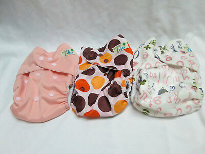 Simply Lilies Cloth Diaper Covers ~ all in 2 ~ Lot of 3 (girl) fits 8-24 lbs