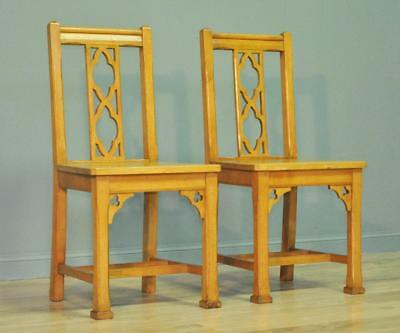 Attractive Pair Of 2 Antique Edwardian Solid Oak Church Hall Chairs