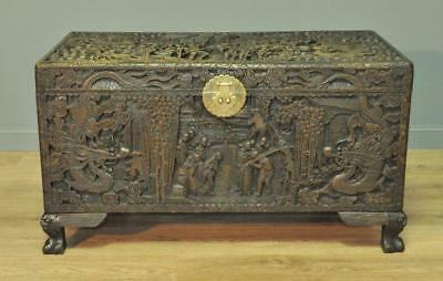 Large Oriental Carved Camphorwood Coffee Table Blanket Toy Chest Kist